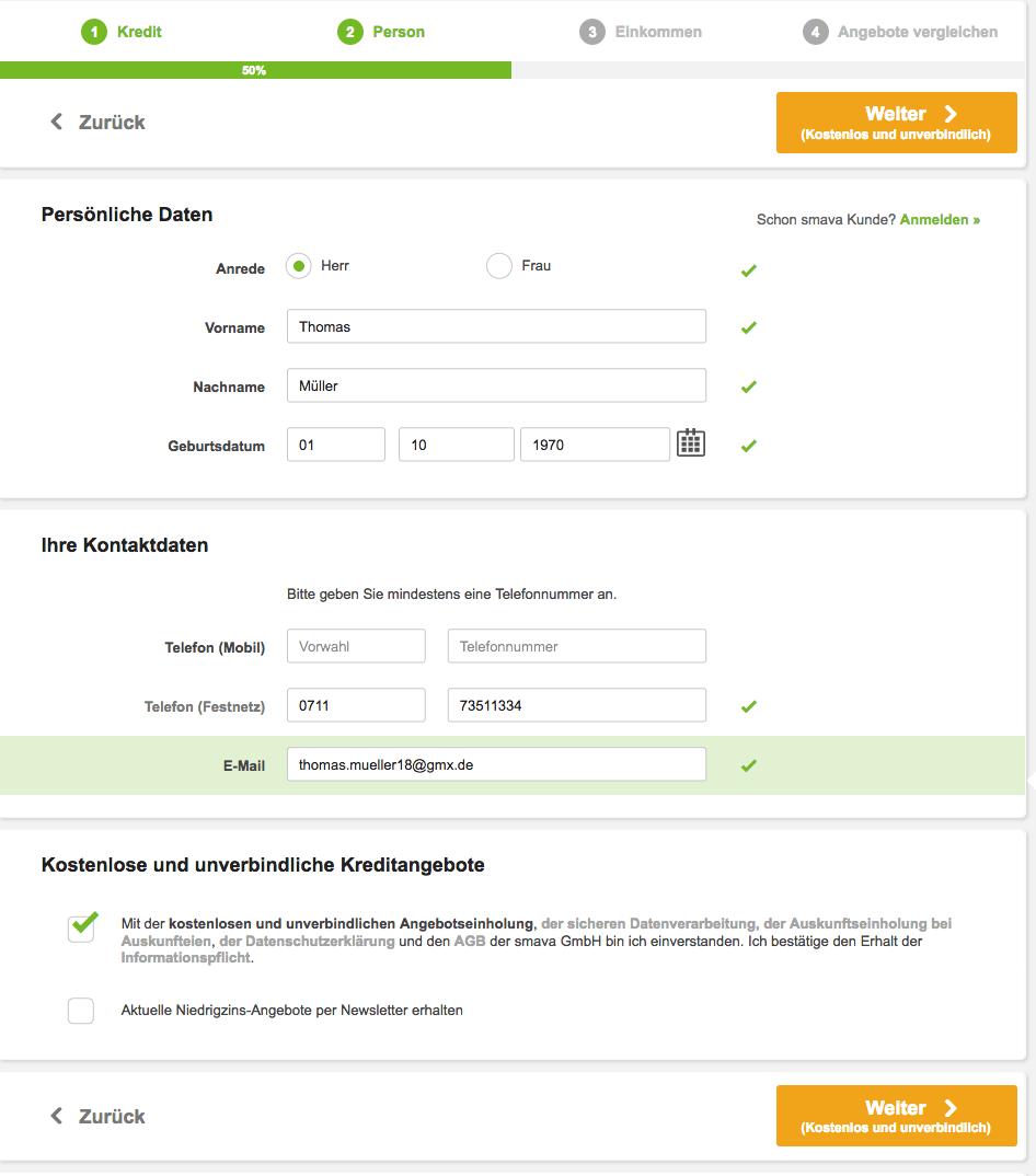 Im Schritt 4 werden Ihre ersten persönlichen Daten wie Name, Geburtsdatum,  Telefonnummer und Emailadresse abgefragt. Geben Sie hier auf jeden Fall  Ihre ...
