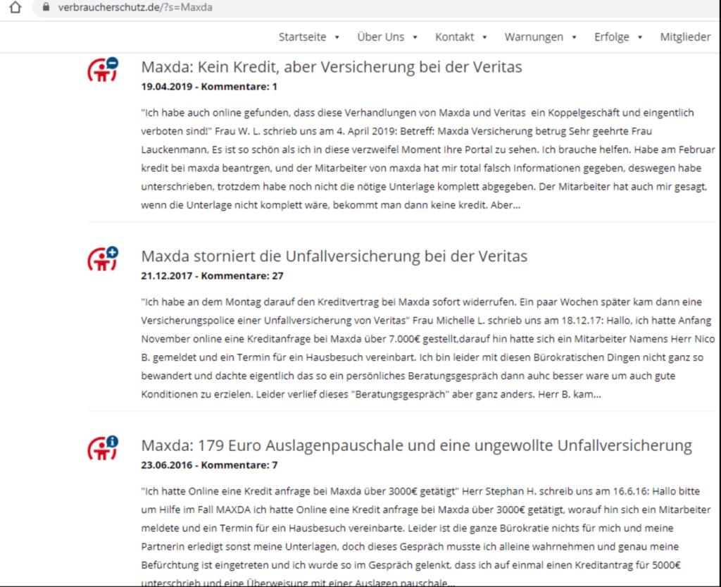 Erfahrungen auf verbraucherschutz.de zu Maxda