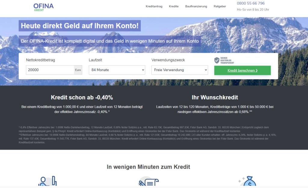 Screenshot Ofina Webseite